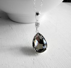 Swarovski Black Diamond Necklace Rhinestone Pendant Formal Fashion Evening Wear Wedding Jewelry Maid of Honor Gift Bridesmaids Gift Mother's...