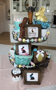 SPRING/EASTER Tiered Tray Collection #2  | Chocolate Bunny Factory Wood Signs  |  Easter Wood Bead Garland  |  Glitter Golden Egg Wood Block Wood Bead Garland, Beaded Garland, Bow Wood, Easter Crafts, Easter Decor, Easter Ideas, Chocolate Bunny, Decorating Coffee Tables, Christmas Centerpieces