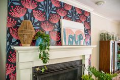 wallpaper around fireplace mantel Family Room Fireplace, Fireplace Wall, Fireplace Surrounds, Fireplace Mantels, Ceiling Trim, Have Some Fun, My Favorite Part, Upholstered Chairs, Beach Towel