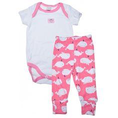 Conunto bebê Menina Body com Calça em Malha Baleia Vicky Lipe