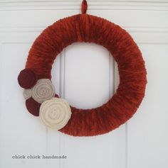 chick chick sewing: Making yarn wreath in autumn colors