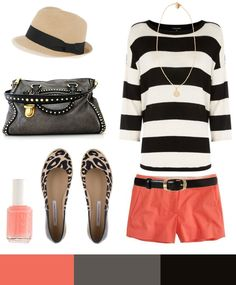 Coral shorts+striped tee
