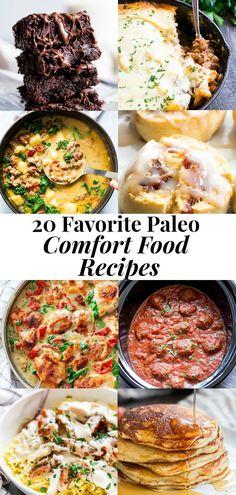 """From creamy soups to """"cheesy"""" casseroles to classic pancakes, these 20 Paleo Comfort Food Recipes will make even the pickiest eaters happy! Paleo Dinner, Healthy Dinner Recipes, Paleo Recipes, Real Food Recipes, Healthy Dinners, Free Recipes, Healthy Food, Paleo Ideas, Food Ideas"""