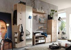 Garderobenset Grace  Dielenmöbel Sägerau 7627. Buy now at https://www.moebel-wohnbar.de/garderobe-grace-dielenmoebel-set-flugarderobe-eiche-saegerau-7627.html