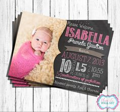 Custom CHALKBOARD theme BIRTH ANNOUNCEMENT- 4x6 or 5x7-  Digital Jpg and Pdf file- You Print on Etsy, $15.00 CAD