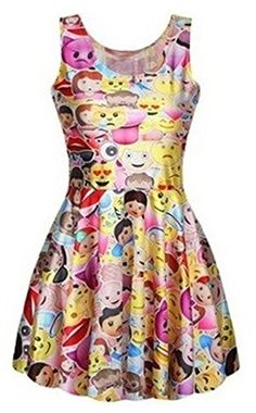 713cbef7757 Women s Emoji Smile Print Tank Pleated Knee-length Dress Pink