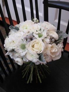 White & Grey Wedding Bouquet by floralartvt.com - really like the grey berry things @Angela Gray Gray Gray Gray Adlard Floristry x