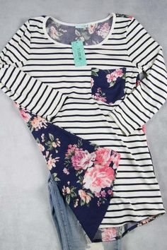 Stripe And Floral Combo Tee