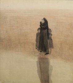 Léon Spilliaert (Belgian, 1881-1946),Femme et enfants, 1907. Watercolour and pastel on paper, 40.5 x 36cm.