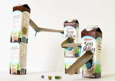 marble tracks toy made from milk cartons and paper towel / toliet paper tubes and MAKEDO toys