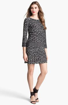Donna Morgan Contrast Pattern Jersey Shift Dress available at #Nordstrom