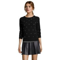 Hayden Black beaded cashmere crewneck sweater ($99) ❤ liked on Polyvore featuring tops, sweaters, black, sequin sweater, black cashmere sweater, black sequin sweater, crew neck sweaters and beaded sweaters