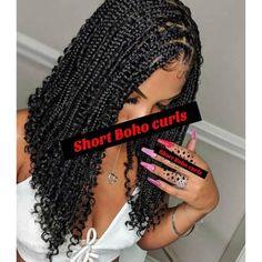 Curled Box Braids, Box Braids Bob, Box Braid Wig, Braids With Curls, Braids With Beads, Short Braids, Braids Wig, Small Braids, Short Curls