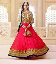 Buy Pink embroidered georgette semi stitched salwar with dupatta wedding-salwar-kameez online