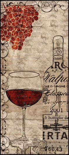 Vintage Reds by Lisa Wolk Kitchen Wine Lover Print Poster 8x18 | eBay