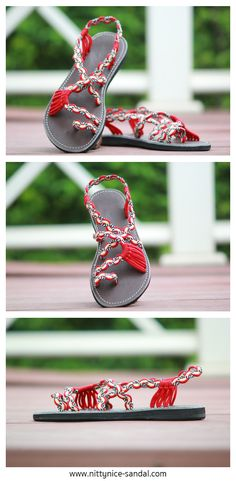 sandals in red by nittynice