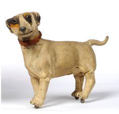 Rare Roullet & Decamps Walking Terrier Dog With Clockwork Mechanism