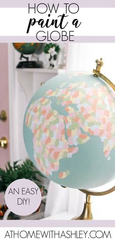 how to paint a globe. DIY hand painted world globe that would be perfect for a wedding guest book, a teacher's classroom, a baby. Back To School Organization, Paper Organization, Organizing Tips, Home Crafts, Diy Home Decor, Diy Crafts, Decor Crafts, Painted Globe, Hand Painted