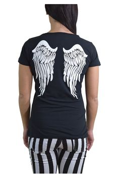 Restyle Gothic Angel White Angel Wings Black T-shirt