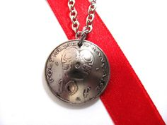 Coin Necklace, French Polynesia, Tiki, 10 Francs 1995, Eco-Friendly Polynesian Pendant Handmade Jewelry by Hendywood - Hendywood