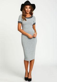 Grey Game On Knit Midi Dress - Love Culture