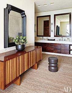 In this Los Cabos, Mexico, master bath, the credenza is by Marcenaria São Paulo. The home was designed by architecture firm Legorreta + Legorreta.
