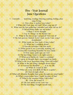 DIY Five year journal-June questions www.cupofdelight.blogspot.com