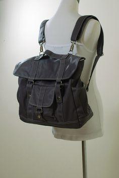 Canvas Convertible Backpack in Dark Grey