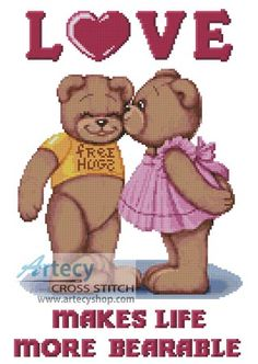Teddy Love Counted Cross Stitch Pattern http://www.artecyshop.com/index.php?main_page=product_info&cPath=74_76&products_id=964