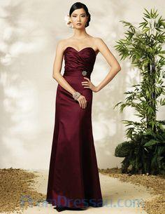 Long Sweetheart Beading Burgundy Satin Bridesmaid Dress