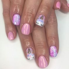 """Unicorn dreamin' Pretty sure this set ticks every item on our """"NAF!'s Favourite Things"""" list! How amazing are nail art skills? Wanna book in with her? Click the link in our bio Unicorn Nails Designs, Unicorn Nail Art, Nails For Kids, Girls Nails, Cute Nails, My Nails, Bella Nails, Little Girl Nails, Hard Nails"""