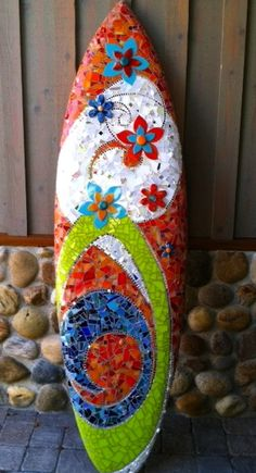 Stained Glass mosaic surfboard