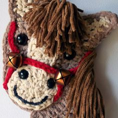 Crochet horse head - wall hanging, my own design, by Jerre Lollman