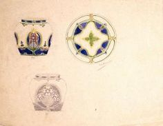 Design drawing for decoration of a plate and two jars [floral motif]