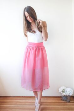 Fille en Rose - Sutie Skirts  - Midi Silk Skirt with Bow