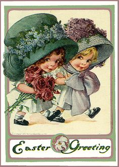 Vintage Easter Postcard--these huge Easter bonnets are so cute on these little girls.