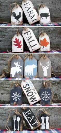 Rustic Wood Tags for all occasions Wood Crafts Christmas Signs, Rustic Christmas, Christmas Projects, Christmas Diy, Christmas Decorations, Xmas, Christmas Stocking, Farmhouse Christmas Ornaments, Christmas Wood Crafts
