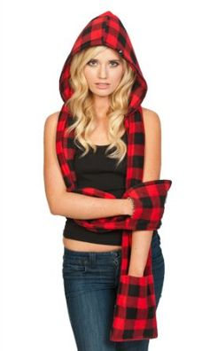 Amazon.com: Scoodie Fleece Hooded Scarf - Detachable Hood, with Pockets - 3 in 1 - Large, Red and Black Plaid: Clothing I can totally make this!
