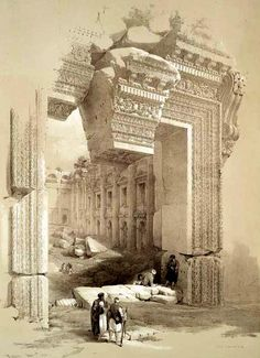 19th century print of the Roman ruins of Baalbek in Lebanon showing the entrance to the Temple of Bacchus (compare to photo of the same, today)