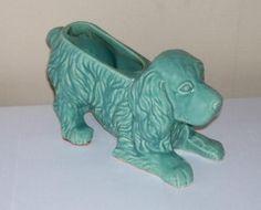 Vintage Shawnee Pottery Crouching Spaniel Dog Planter USA