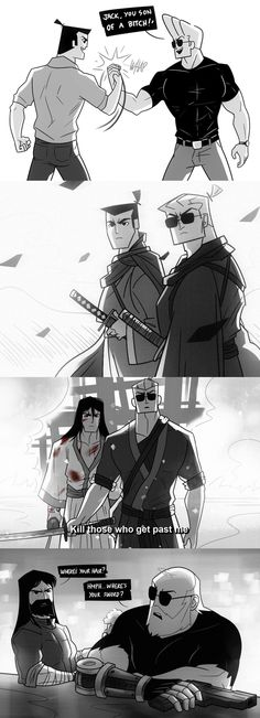 Samurai Jack and Johnny Bravo crossover Johnny Bravo, Comic Anime, Art Anime, Comic Art, Laugh Cartoon, Cartoon Art, Funny Shit, Funny Memes, Hilarious