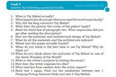Kunci Jawaban Soal Bahas Inggris Chapter 4 Task 2 Halaman 59 (Taj Mahal)