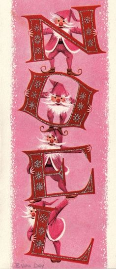 Vintage holiday card with four elves sending Christmas greetings.