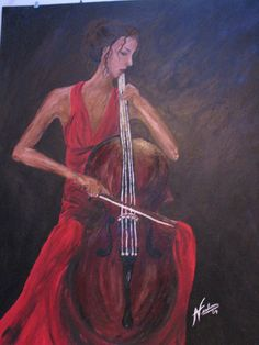 """""""I Play for Me"""" acrylic painting by Alexandra-May Verboom"""