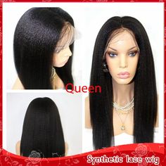(29.20$)  Buy here  - Hot Sale Kinky Straight Hair Heat Resistant Glueless Brazilian Synthetic Lace Front Wig Top Yaki Straight Wigs For Black Women