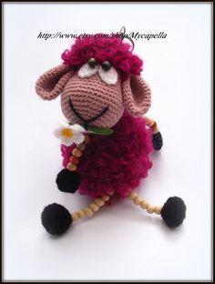 Crochet sheep doll ,sheep toy ,amigurumi,key ring by Mycapella, $32.50