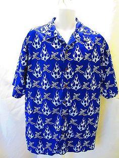 Mens Shirt XL Mens Odo Blue Flames Polyester Biker Button Front Graphic