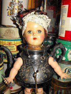 The Vintage Bazaar Salisbury, MA. Steampunk Dolls, Baby Shower Tea, Found Art, Creepy Dolls, Old Dolls, Doll Parts, Assemblage Art, Weird And Wonderful, Doll Head