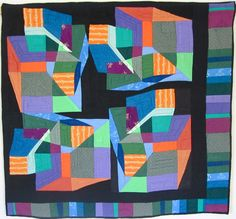 "La Porte au Fond du Couloir, 41""x43""/1m04 x 1m10; Nov. 1991, machine pieced and quilted. From: http://multicoloredpieces.blogspot.com/p/abstractneedleturn-applique.html"