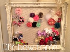 DIY bow holder.....never thought of using chicken wire